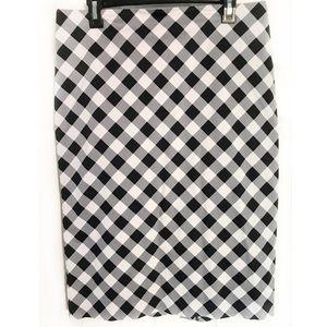 New York & Company Gingham Print Midi Skirt